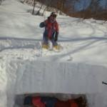 雪山レスキュー訓練:上越・荒沢山登山口付近